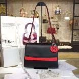 Wholesale Christian Dior Be Dior Double Flap Bag Calfskin Leather 28cm Large Bag Spring/Summer 2016 Collection, Red/Black