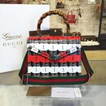 Wholesale Gucci Bamboo Top Handle Snakeprint Leather Medium Shoulder Bag Fall/Winter 2016 Collection, Black/Red/White