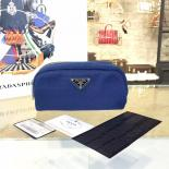 Wholesale Prada Comestic Pouch Toiletry Bag Canvas With Calfskin Leather, Dark Blue