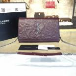 YSL Saint Laurent Classic Monogramme Kate Clutch Bag Embossed Calfskin Leather Fall/Winter 2016 Collection, Burgundy