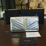 YSL Saint Laurent Flap Continental Wallet 19cm Original Leather Fall/Winter 2016 Collection, Silver