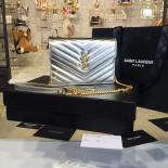 YSL Saint Laurent Metallic Monogram Quilted Leather Shoulder Bag Original Leather Fall/Winter 2016 Collection, Silver
