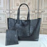 YSL Saint Laurent Shopping Tote Croco Stamp Leather Bag Calfskin Original Leather Fall/Winter 2016 Collection, Black