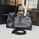 YSL Saint Laurent Small Monogram Cabas Smooth Leather Large Tote Bag Calfskin Original Leather Fall/Winter 2016 Collection, Black