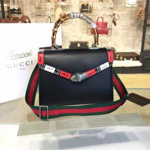 1:1 Replica Copy Of GGucci Lilith Bamboo Top Handle Bag With Printed Snakeskin Detail Medium Shoulder Bag Fall/Winter 2016 Collection, Black