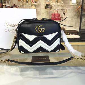 AAA Replica Gucci GG Marmont Matelassé Large Shoulder 27cm Bag Fall/Winter 2016 Collection, Black/White