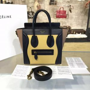 Best Quality Celine Nano Luggage Bag Calfskin Leather Fall Winter 2016 Collection, Multi Yellow/Black/Beige