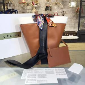 Celine Twisted Cabas Bucket Bag Calfskin Leather Fall/Winter 2016 Collection, Tan/Black