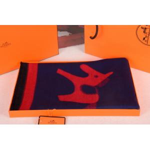 Cheap Hermes Small Pony Wool Scarf Navy