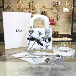 Cheap Lady Dior Mini 17cm Bag Dragonfly Embroidered Effect Calfskin Leather Winter 2016 Collection, White