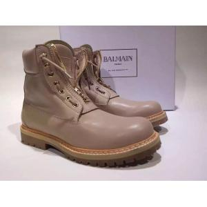 Designer Balenciaga Lace Up Ankle Boots Calfskin Leather, Beige