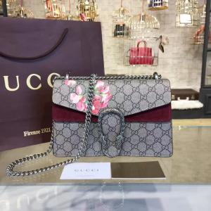 Designer Gucci Dionysus Blooms Print GG Supreme Canvas And Suede Shoulder Fall/Winter 2016 Collection, Burgundy