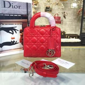 Dior Lily 19cm Bowling Bag Lambskin Leather Pre-Fall 2016 Collection, Red