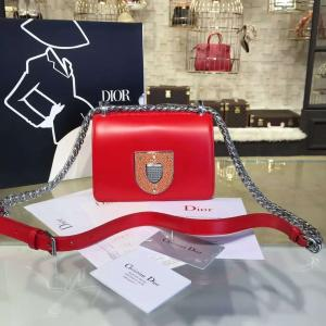 Diorama Club 18cm Bag Glossy Calfskin Leather Wiith Shagreen Badge Pre-Fall 2016 Collection, Tonic Red With Silver Chain