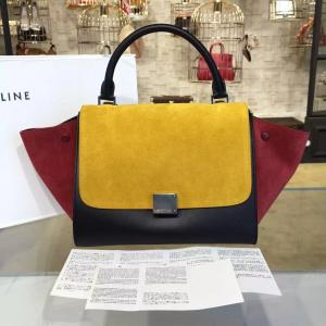 Discount Celine Trapeze Top Handle Small Bag Smooth Calfskin With Suede Leather Pre-Fall Winter 2016 Collection, Mustard/Burgundy/Black