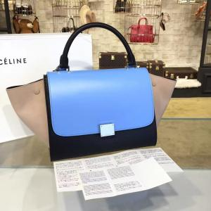 Fake Celine Trapeze Top Handle Small Bag Smooth Calfskin With Suede Leather Pre-Fall Winter 2016 Collection, Light Blue/Sand/Black
