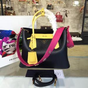 Fake Prada Saffiano Double Handle Tote Bag With Croc Stamp 33cm Fall/Winter 2016 Bag Collection, Black/Yellow