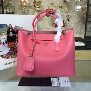 Famous Prada Saffiano Double Handle Tote Bag 35cm Fall/Winter 2016 Bag Collection, Rose Pink