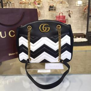 Fashion Gucci GG Marmont Matelassé Large Tote Bag Calfskin Leather Fall/Winter 2016 Collection, Black/White