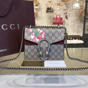 Gucci Dionysus GG Supreme Mini Coated Canvas And Suede Small Shoulder Fall/Winter 2016 Collection, Burgundy