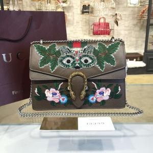 Gucci Dionysus GG Supreme Owl-Embroidered Canvas Shoulder Large Bag Fall/Winter 2016 Collection, Brown Multi