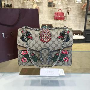 Gucci Dionysus GG Supreme Pineapple/Flower Embroidery Canvas Shoulder Medium Bag Sequin Appliqué Fall/Winter 2016 Collection, Beige