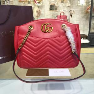 Gucci GG Marmont 2.0 Medium Quilted Shoulder Bag Fall/Winter 2016 Collection, Red