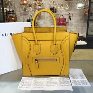 Imitation Celine Micro Luggage Bag Grained Calfskin Leather Fall Winter 2016 Collection, Mustard Yellow