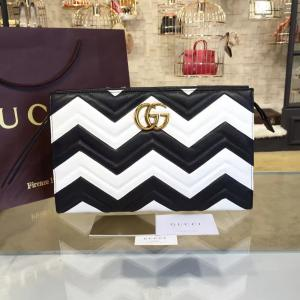 Knockoff Gucci GG Marmont Matelassé Clutch Bag Calfskin Leather Fall/Winter 2016 Collection, White/Black
