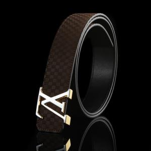 Knockoff Louis Vuitton Suede Leather LV Initiales Belt - 15