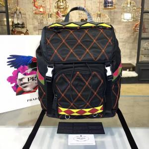Knockoff Prada Nylon Backpack 2VZ135 27cm Fall/Winter 2017 Bag Collection, Multi Black/Yellow/Red