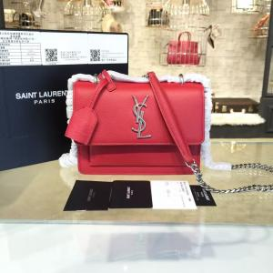 Knockoff YSL Saint Laurent Monogram Sunset Shoulder Crossbody Small Bag Grained Calfskin Orginal Leather Fall/Winter 2016 Collection, Red