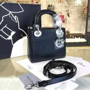 Lady Dior Micro-Cannage Metallic Perforated Calfskin Leather 17cm Bag Winter 2016 Collection, Black With Silver Chain