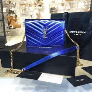 Luxury Replica YSL Saint Laurent Metallic Monogram Quilted Leather Shoulder Bag Original Leather Fall/Winter 2016 Collection, Electric Blue