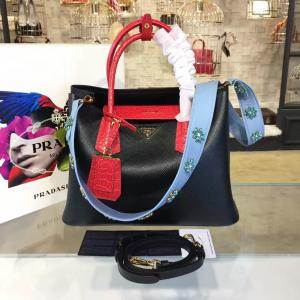 Prada Saffiano Double Handle Tote Bag With Croc Stamp 33cm Fall/Winter 2016 Bag Collection, Black/Red