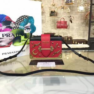 Replica AAA Prada Cahier Astrology Shoulder Bag Calfskin Leather 18cm Fall/Winter 2016 Bag Collection, Red