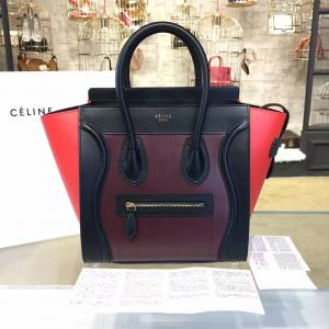 Replica Celine Micro Luggage Bag Calfskin Leather Fall Winter 2016 Collection, Multi Burgundy/Red/Black