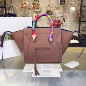Replica Celine Phantom Tote Bag Calfskin Leather Fall/Winter 2016 Collection, Beige With Suede Electric Blue