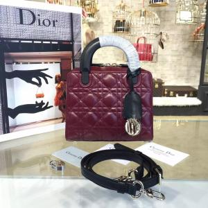 Replica Dior Lily 19cm Bowling Bag Lambskin Leather Pre-Fall 2016 Collection, Burgundy