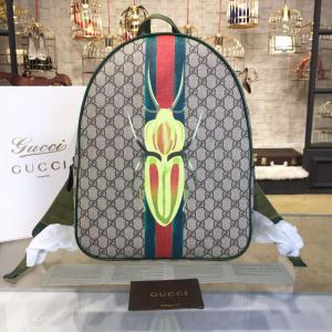 Replica Gucci Beige & Green 'GG' Canvas Beetle Backpack Original Leather Fall/Winter 2016 Collection, Beige