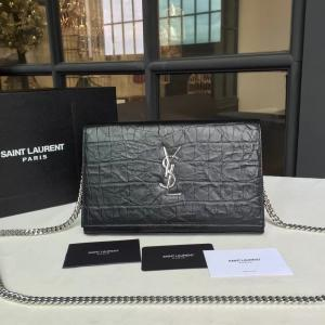 Selling YSL Saint Laurent Classic Monogramme Kate Clutch Bag Embossed Calfskin Leather Fall/Winter 2016 Collection, Black