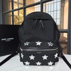 YSL Saint Laurent Nylon Canvas Star Embroidered Backpack Fall/Winter 2016 Collection, Black