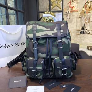 YSL Saint Laurent Rock Sac Canvas And Leather Backpack Fall/Winter 2016 Collection, Camouflage