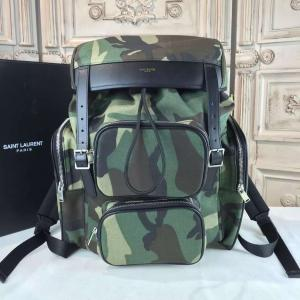 YSL Saint Laurent Rock Sac Canvas/Leather Backpack Fall/Winter 2016 Collection, Camouflage